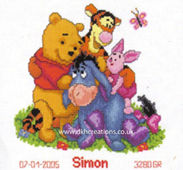 Disney Winnie The Pooh And Friends Birth Sampler Cross Stitch Kit